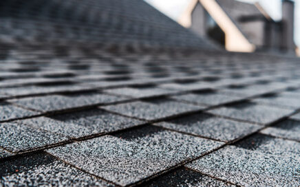 Close up perspective angle of roof shingles